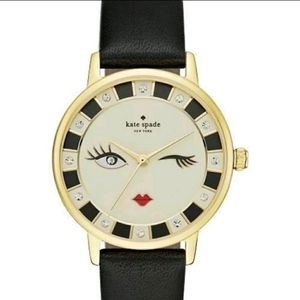 Kate Spade Wink 😉 Face Black Leather Watch